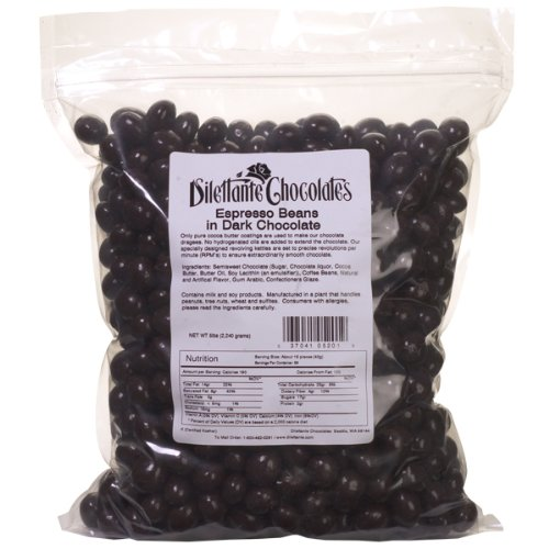 Bulk Dark Chocolate Covered Espresso Beans | Made with All-Natural Ingredients | 5lb Bulk Bag | By Dilettante Chocolates