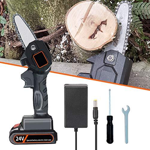 Motosega elettrica a batteria, Mini Elettrosega Sega 550w, Elettrosega a Batteria, Taglio costante 1.5 ore, Design leggero 700 g, per il taglio del legno del ramo di un albero di TZUTOGETHER