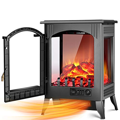 Fireplace Space Heater - 1500W / 750W Infrared Electric Fireplace Heater with 3D Flame Effect, Adjustable Flame Brightness, Overheat Protection, Large Size Room Electric Wood Stove for Indoor Use Heater Infrared Space