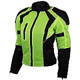 Vance Advance Womens All Weather Season CE Armor Mesh Motorcycle Biker Riding Jacket (L, Hi-Viz Green)