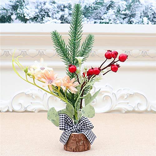 LouisaYork - Árbol de Navidad para mesa (3 unidades), diseño de pinos pequeños artificiales con base de madera, arco, flores para decoración del hogar, 20 cm