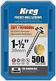 Kreg SML-C150-500 Pocket Hole Screws 1-1/2-Inch #8 Coarse Washer-Head 500ct - SML-C150 - 500