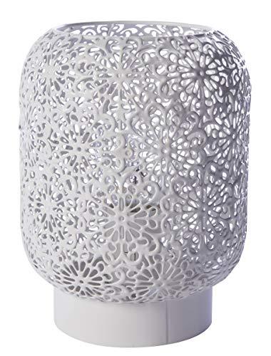 LUSSIOL Lámpara de noche Zephir, lámpara decorativa de metal, 40 W, blanco, diámetro 15 x altura 20 cm
