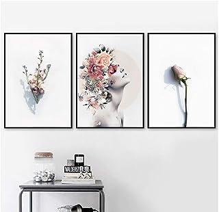Chica mariposa rosa flor amor pared arte lienzo pintura nórdica carteles e impresiones cuadros de pared para decoración de...