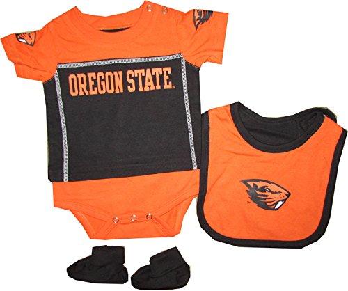 Oregon State Beavers 3pc Creeper Bib Booties Set Infant Baby (6-9 Months)