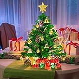 Weihnachtsbaum klein 50cm, künstlicher Christbaum mit bunter batteriebetriebener Lichterkette, Baumspitze, Kugeln, Schelle, Beeren, Kiefernzapfe, Weihnachtsdeko, Mini Tannenbaum für Tisch, Büro - 3