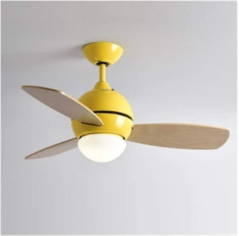 Ceiling Fan Ceiling Lamp With Fan Modern Macaron Color Kid Room Bedroom Living Room Wood Art Fan Lamp Colorful Lamp Deco Fan Lights Fan Light Blade Color Yellow Size 36in