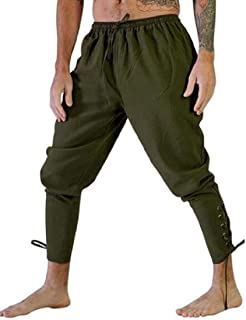 FSSE Mens Cosplay Pirate Costume Trousers Medieval Gothic Ankle Banded Pants