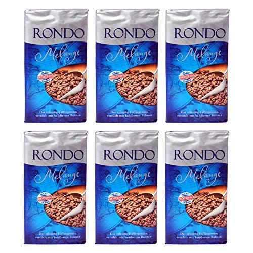 6er Pack Rondo Melange Röstkaffee (6 x 500 g) gemahlen und aromaversiegelt, Kaffeepulver
