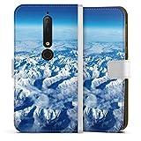 DeinDesign Étui Compatible avec Nokia 6.1 Étui Folio Étui magnétique Nuage Neige Montagne