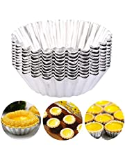 Luxerlife 20 Pack Egg Tart Aluminum Cupcake Cake Cookie Mold Pudding Mould Tin Baking Tool Reusable Nonstick Ripple Flower Shape
