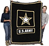 US Army - Star Logo - Cotton Woven Blanket Throw - Made in The USA (72x54)