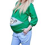Yying Felpe con Cappuccio Premaman Maternity Pullover Casual per Donne in Gravidanza Verde...