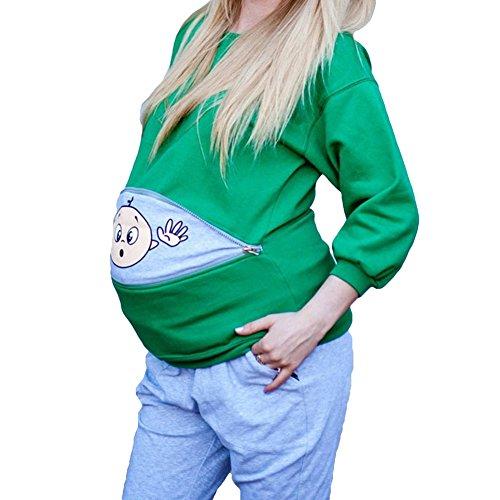 Schwangerschaftsshirt Baby Lustig Langarm Sweatshirt Umstandsshirt Trachten Shirt für Schwangere Schwangerschaft Bluse Grün/3XL