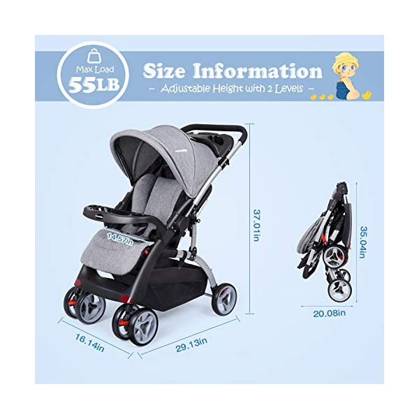 Baby Stroller Travel Pushchair, One-Hand Folding Pushchair for Newborn Infant Toddler with Reclining Seat and Reversible Handle, Easy to Transport and Storage, Great for Airplane (Grey) N-O 【Safe and Comfortable】: All- steel frame and anti- shock wheels with brakes. - 3-Point harness with soft shoulder pads for comfort and assurance that the child remains in position and does not lean out. Washable and breathable fabric can have optimum air flow for baby. Large sunshade can give your baby a sweet sleep. 【Reversible handle and storage basket】: When you take your baby out alone, keep your baby in your eyes more directly, ensuring maximum safety. Storage baskets in all locations allow you to store all your baby's necessities. 【Peek-a-boo window】: This ingenious design for parents. You can have make eye contact with baby at ant time, and watch baby's activity. 6