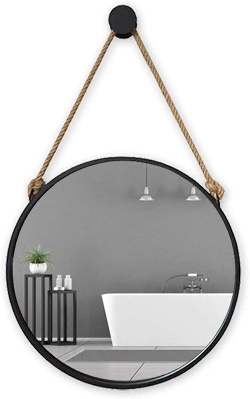 Bathroom Mirror Makeup Mirror Bathroom Wall-Mounted Wall Round Bedroom Dressing Mirror Creative European Wrought Iron Mirror (color   Black, Size   30cm)