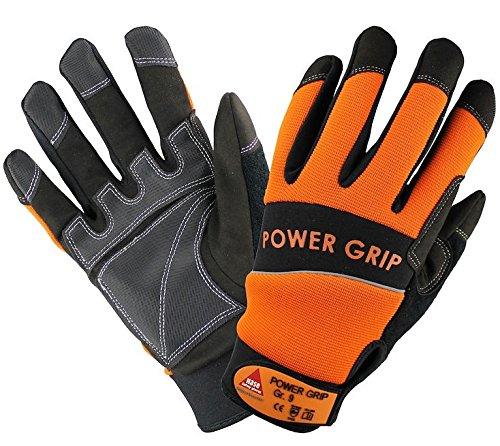 10 Paar - POWER GRIP schwarz/orange, 5-Fg.-Handschuhe Neoprene, - HASE - 402000 - Größe 10
