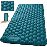 Double Sleeping Pad, MEETPEAK Foot Press Pump Inflating Camping Sleeping Mat for Two Person - Thick 3.2 inch Lightweight & Compact Camping Air Mattress for Backpacking Hiking Traveling Tent
