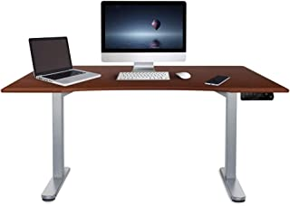 Fortia 150cm Wide Motorised Height Adjustable Ergonomic Standing Desk for Office or Home, Walnut with Silver Frame