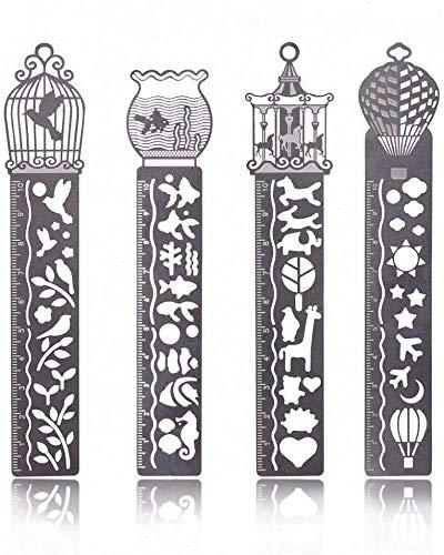 Uniqueluckclear 4 reglas de metal para marcapáginas, de acero inoxidable, plantilla de dibujo, plantilla de pintura, gran regalo para niños, estudiantes, escritor y lector