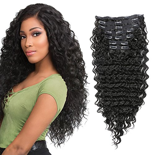 """FASHION LINE Synthetic Deep Wave Curly Clip in Hair Extensions Double Weft Full Head Heat Resistance Thick Deep Wave Clip In 7 Pieces(24"""" Deep Wave, #1B Natural Black)"""