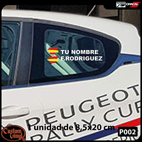 Vinyl stickers, vlag Spanje + je naam – fiets, helm, padelracket, skateboard, auto, motorfiets etc. – set met twee vinyl stickers