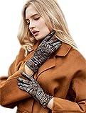 YISEVEN Damen Lederhandschuhe Gefüttert Touchscreen Frauen Winter Warm Elegant Auto Soft Lammfell Leder Handschuhe Echtleder Winterhandschuhe Damenhandschuhe Autofahrerhandschuhe, Schwarz XL/8.0'