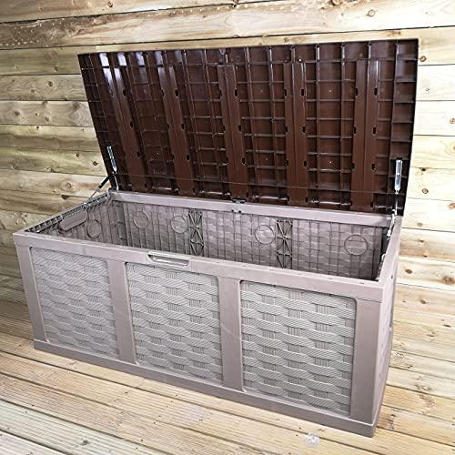 Samuel ALEXANDER HUGE XXL 634 Litre PVC Strong Outdoor Garden Storage Box Garden Storage Seat, Decking Box Perfect For Cushions And Additional Storage In Brown