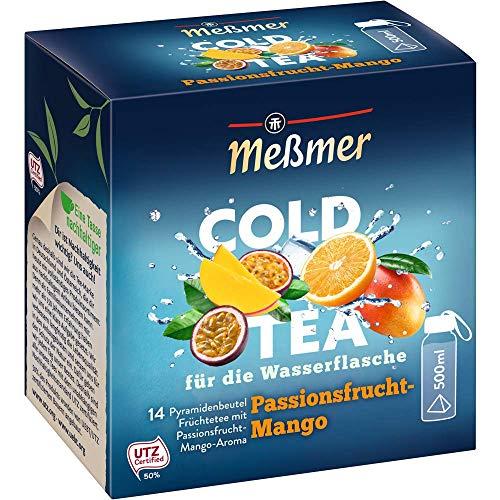 Meßmer Cold Tea Passionsfrucht-Mango,Belebe dein Wasser mit dem spritzigen Geschmack,ohne Zucker,ohne Kalorien|Alternative zu zuckerhaltigen Getränken wie Limonade 14 Pyramidenbeutel, 105564