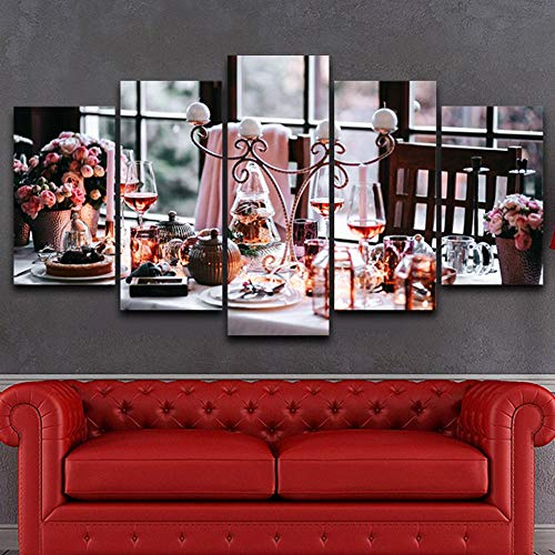 Modern Canvas Poster Living Room HD Print Picture 5 Board Elegant Kitchen Table Modular Wall Artist Home Decoration Painting-No Frame