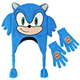 Concept One Boy's Little Sega Hedgehog Winter Beanie with Tassels and Glove Set, blue modern Sonic, One Size