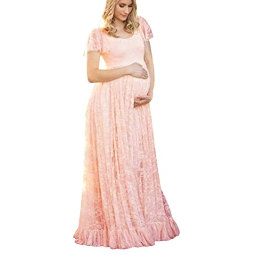 5512a95c21ff6 MOONHOUSE Maternity Floral Lace Dress Maxi Split V Neck Flying Sleeves  Front Gown Bridesmaid Pregnant Dress