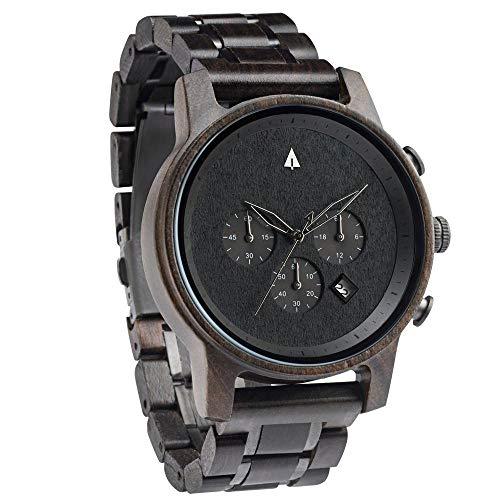 Treehut Men's Ebony Wooden Black Stainless Steel Watch Chronograph Quartz Analog Japanese Movement Watch with Date