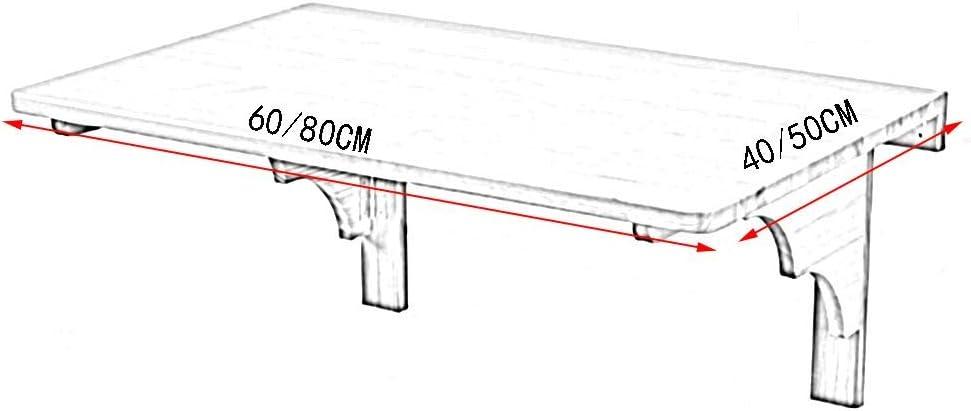2 Dimensions Couleur: Bois de ch/êne, Taille: 60x40x29CM WANNA.ME Table Murale en Bois Massif Plan de Travail Pliable Table de Travail avec Table dordinateur 2 mat/ériaux