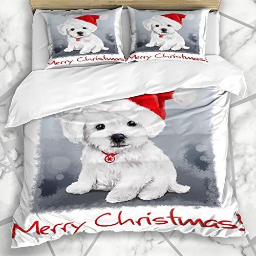 Juegos de fundas nórdicas Navidad Rojo Cachorro Bichón Pintura Acuarela Nieve Lindo Perro Sombrero Maltes Diseño de mascotas Ropa de cama de microfibra con 2 fundas de almohada Cuidado fácil Antialérg