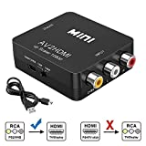 RCA to HDMI Converter, Tackston 1080P RCA Composite CVBS AV to HDMI Video Audio Converter Box for PS2 Wii Xbox NES N64 VHS VCR Camera DVD, Support PAL/NTSC with USB Power Cable