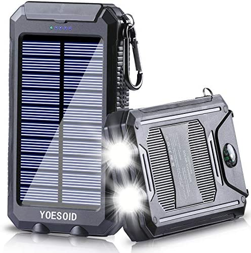 Solar Charger 20000mAh YOESOID Portable Solar Power Bank with Dual USB Output Waterproof External product image