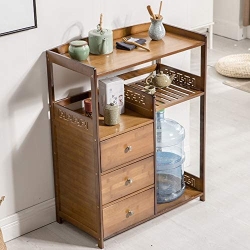 Shelves ZR Regal Bambus Massivholz Trinkregal Eimer Aufbewahrungsregal Teeschrank Seitenschrank – Wanddekoration B