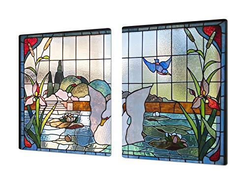 Concept Crystal Protector de Placas de Cocina de 80 cm – Gigante Cubre encimeras de Cristal – Tabla de Cortar Grande – UNA Pieza (80 x 52 cm) o Dos Piezas (40 x 52 cm) Serie: Fuera de Serie DD19