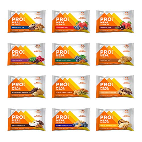 PROBAR - Meal Bar 12 Flavor Variety Pack - Natural Energy, Non-GMO, Gluten-Free, Plant-Based Whole Food Ingredients (Pack of 12)