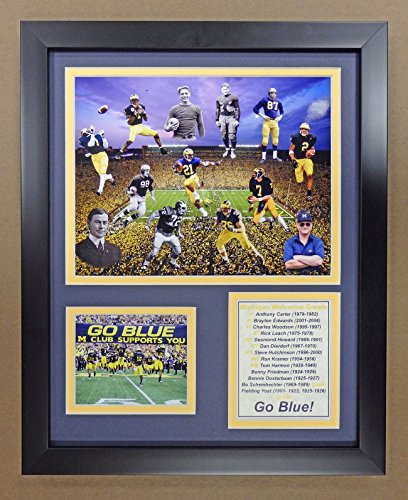 """Legends Never Die NCAA Michigan Wolverines Football Greats Double Matted Photo Frame, 12"""" x 15"""""""