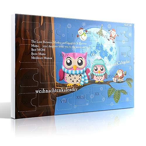 MJARTORIA Weihnachtskalender Schmuck Adventskalender 2019 für Damen Mädchen Kinder mit 24 Überraschungen Xmas Choker Kette Weinglas Marker Brosche Click Button Charms(Blau Eule)