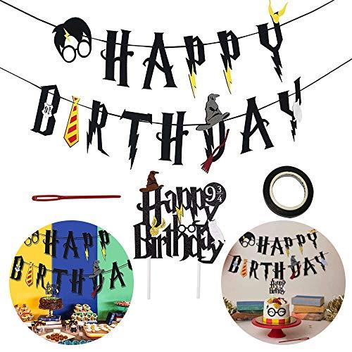 Guirnalda de banderines con texto en inglés 'Happy Birthday' para decoración de cupcakes para niños