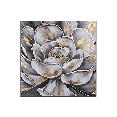 HIMAmonkey 100% Pintura Al Óleo Pintado A Mano Cuadros Abstractos Modernos Loto Arte De Pared sobre Lienzo Estirada Y Enmarcado Decoración Listo para Colgar,24