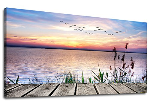 yearainn Canvas Wall Art Lake Dock Sunset Scenery with Flying Birds Picture Long Canvas Artwork Contemporary Nature Pictures Prints for Home Office Wall Decor 20' x 40'