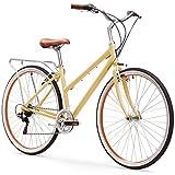 sixthreezero Explore Your Range Women's 7-Speed Hybrid Commuter Bicycle, Cream, 17' Frame/700x38c Wheels