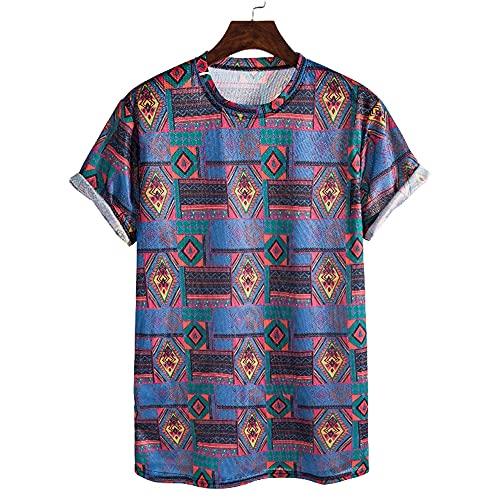 Shirt Playa Hombre Slim Fit Verano Cuello Redondo Manga Corta Hombre Shirt Moda Vintage Estampado Hombre T-Shirt Clásica Cómoda Vacaciones Sueltas Hombres Shirt Ocio T003 L