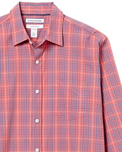 Amazon Essentials Men's Long-Sleeve Regular-Fit Casual Poplin Shirt Shirt, -Washed Red/Blue Plaid, XX-Large