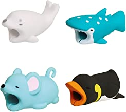 Cable Bites Animals 4 Pack Data Cord Charger Charging Protector Buddies Compatible for iPhone USB Cable Saver Chewers Cable Bite Cable Phone Accessory Cute Animal Penguin Mouse Dot Shark Seal