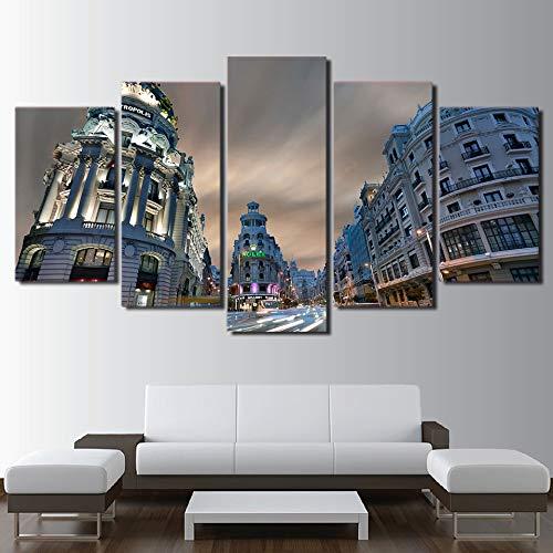 CANPIC Impreso HD Ciudad Madrid Imagen 5 Piezas, Pintura